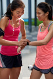 Fitness wearable technology friends Stock Image