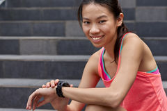Fitness wearable technology portrait Royalty Free Stock Photo