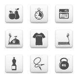 Fitness web buttons set Royalty Free Stock Photos