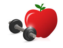 Fitness weight and apple illustration Royalty Free Stock Photos