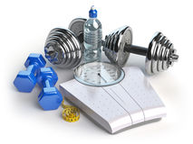 Fitness and weight loss concept. Weight scales, dumbbells and me stock illustration