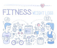 Fitness and Weight Loss. Vector Illustration Royalty Free Stock Photography