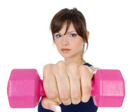 Fitness with weights stock photos