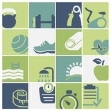 Fitness and wellness club icons set vector. Fitness club and wellness icons set vector file Stock Photos