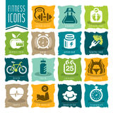 Fitness and wellness icon set Royalty Free Stock Image
