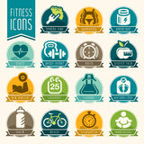 Fitness and wellness icon set Stock Image