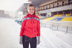 Fitness in winter Royalty Free Stock Image