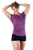 Fitness woman. Young woman poses wearing her fitness outfit Stock Image