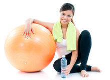 Fitness Woman With Balance Ball Royalty Free Stock Image