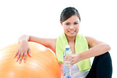 Fitness Woman With Balance Ball Royalty Free Stock Images