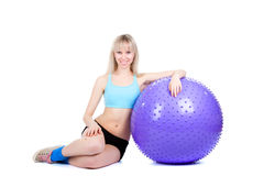 Fitness Woman Ball Royalty Free Stock Photo