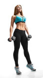 Fitness woman with barbells Royalty Free Stock Photos