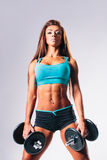 Fitness woman. Beautiful female with dumbbells posing on studio background Royalty Free Stock Images