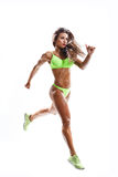 Fitness woman. Beautiful fitness female posing on studio background Royalty Free Stock Images