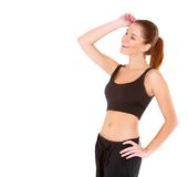 Fitness woman in black sports clothes royalty free stock photos