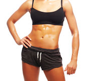 Fitness woman in black sports clothes Stock Photos