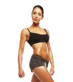 Fitness woman in black sports clothes Stock Photography