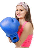 Fitness woman with the blue boxing gloves Stock Photos