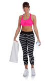 Fitness woman bottle water standing at sports workout training i Stock Photos