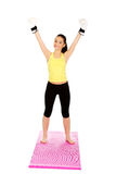 Fitness woman in boxing gloves with hands up. Royalty Free Stock Image