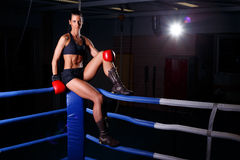 Fitness woman. In boxing room Stock Photos