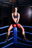 Fitness woman. In boxing room Royalty Free Stock Photo
