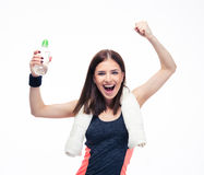 Fitness woman celebrating her victory Royalty Free Stock Photo