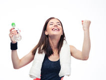 Fitness woman celebrating her victory Royalty Free Stock Images