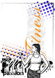 Fitness woman color poster background Stock Photos