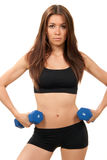 Fitness woman on diet workout dumbbells Stock Photo