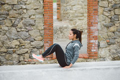Fitness woman doing crunches for core workout Stock Photos