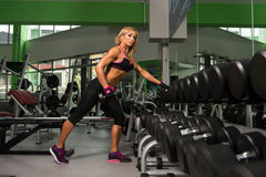 Fitness Woman Doing Exercise For Back With Dumbbells royalty free stock photo