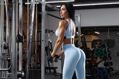 Free Fitness Woman Doing Exercise For Triceps. Beautiful Buttocks In Leggings. Sexy Athletic Girl Workout In Gym Royalty Free Stock Photo - 148035295