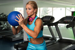 Fitness Woman Doing Exercise With Medicine Ball Stock Images