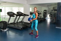 Fitness Woman Doing Exercise With Medicine Ball Stock Photos
