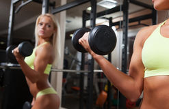 Fitness woman doing exercises with dumbbell Stock Image