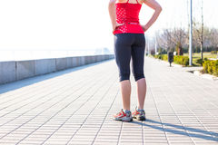 Fitness woman doing exercises during outdoor cross training workout Royalty Free Stock Photography