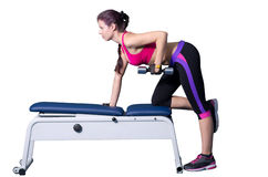 Fitness. Woman doing exercises for the triceps Royalty Free Stock Image