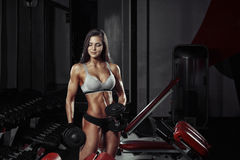 Fitness woman doing a fitness workout with dumbbells in the gym Stock Photography