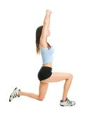 Fitness woman doing lunge exercise Stock Photo