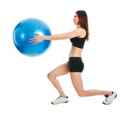 Fitness woman doing lunge exercise Stock Photos