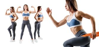 Fitness woman doing lunge exercise. Sport lifestyle concept. royalty free stock photography