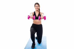 Fitness woman doing stretching exercise Stock Photos