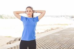 Fitness Woman doing workout outdoor Stock Photo