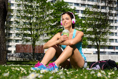 Fitness woman drinking detox smoothie after workout royalty free stock images