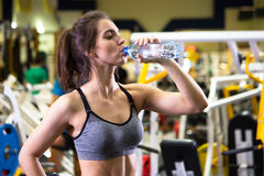 Fitness woman drinking water from bottle. Royalty Free Stock Images