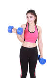 Fitness woman with dumbbell Stock Photos