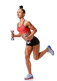 Fitness woman with dumbbells full length Royalty Free Stock Photography