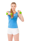 Fitness woman with dumbbells Royalty Free Stock Photography