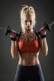 Fitness Woman With Dumbbells Royalty Free Stock Images